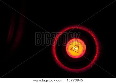 Burning Car Emergency Button At Night On Plastic Panel - As Danger Symbol