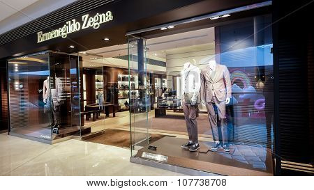 Ermenegildo Zegna Fashion Boutique Display Window. Hong Kong