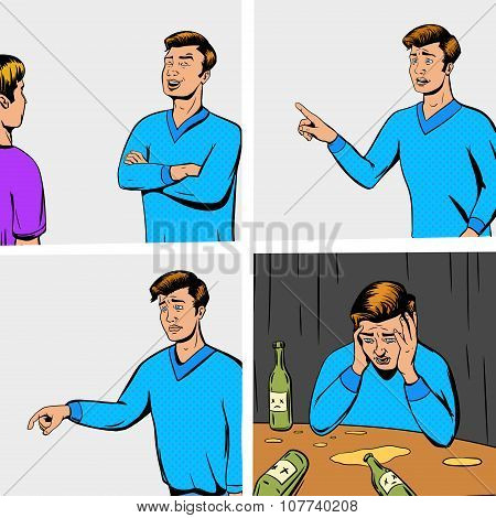 Comic strip with debate of two persons and disappointing vector illustration. Comic book imitation. Pop art retro style poster