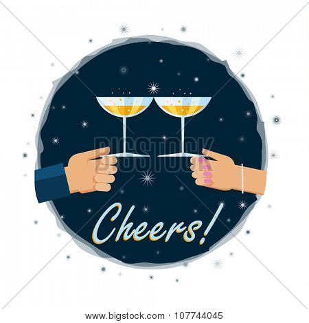 Vector illustration. Flat design illustration of hands toasting with a glass of champagn