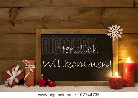 Festive Christmas Card, Blackboard, Snow,Willkommen Mean Welcome