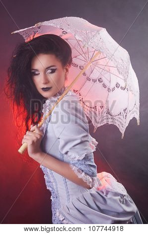 Beautiful Halloween vampire woman aristocrat with lace-parasol poster