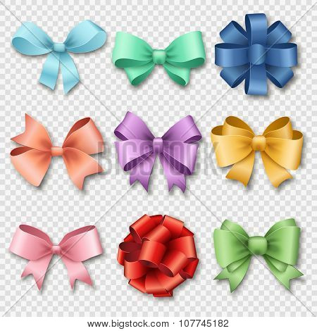 Ribbons set for Christmas gifts. Red gift bow with ribbons vector illustration. Red gift ribbons and bows for New Year celebration. Christmas ribbons, christmas bows. Birthday ribbons