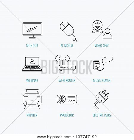 Printer, wi-fi router and projector icons. Monitor, video chat and webinar linear signs. Electric plug, pc mouse and music player icons. Linear set icons on white background. poster