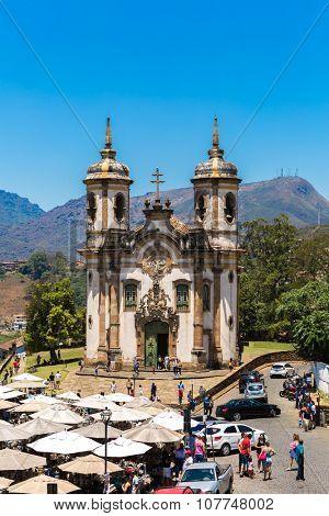 OURO PRETO, BRAZIL - CIRCA OCTOBER 2015: Church of Saint Francis of Assisi in Ouro Preto, Minas Gerais, Brazil