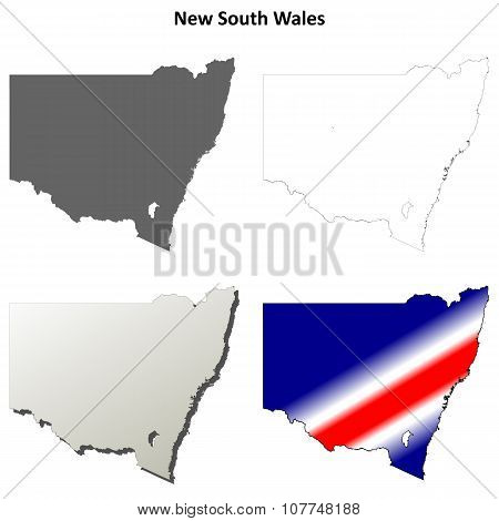 New South Wales outline map set