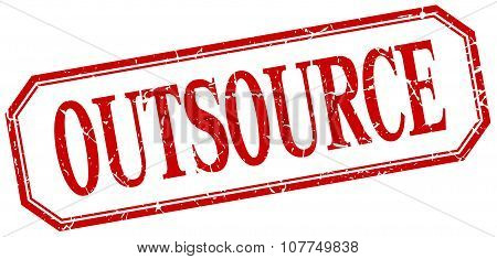 Outsource Square Red Grunge Vintage Isolated Label