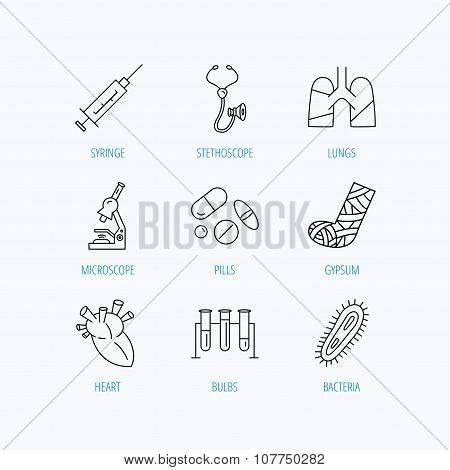 Broken foot, lungs and syringe icons.