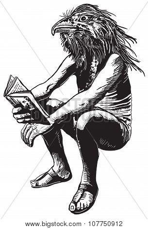 Bird-man. An Hand Drawn Vector Illustration, Freehand.