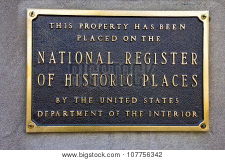 Indianapolis - October 2015: A National Register of Historic Places plaque.