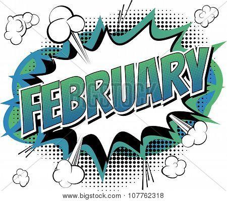 February - Comic book style word
