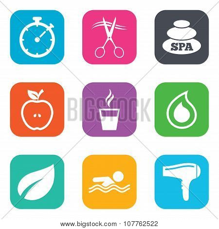 Spa, hairdressing icons. Swimming pool sign. Water drop, scissors and hairdryer symbols. Flat square buttons. Vector poster