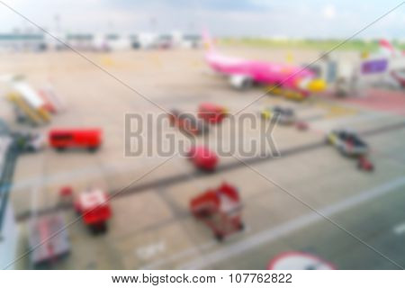 Abstract blur airplane terminal in airport