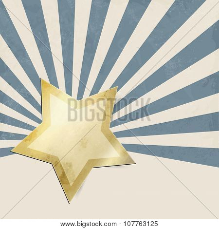 Blue retro starburst with gold star - abstract xmas background