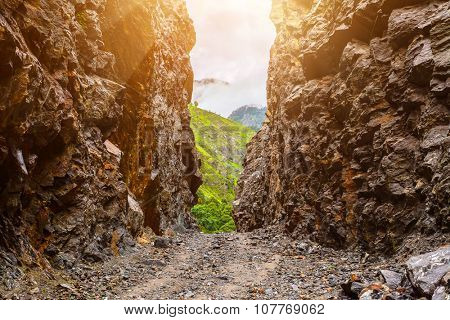 beautiful mountains landscape from stone pathway and rocks in Nepal, Annapurna trekking