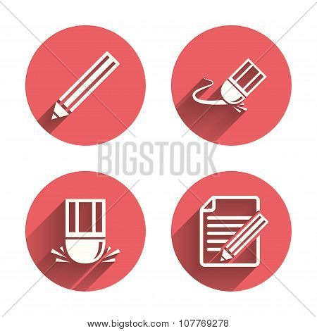 Pencil icon. Edit document file. Eraser sign. Correct drawing symbol. Pink circles flat buttons with shadow. Vector poster