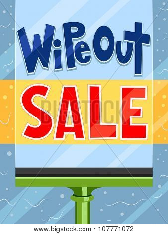 Illustration Featuring a Paintbrush Painting the Words Wipe Out Sale