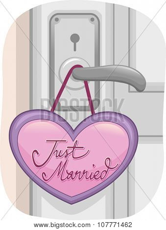 Illustration of a Locked Door with a Just Married Sign Dangling from the Knob