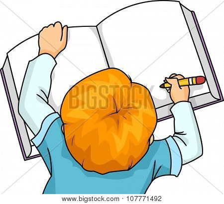 Illustration of a Little Boy Writing on a Large Book