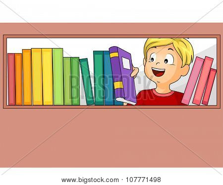 Illustration of a Little Boy Choosing from the Books in the Library