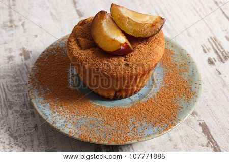 Fresh Baked Muffins With Plums And Powdery Cinnamon On Plate, Delicious Dessert