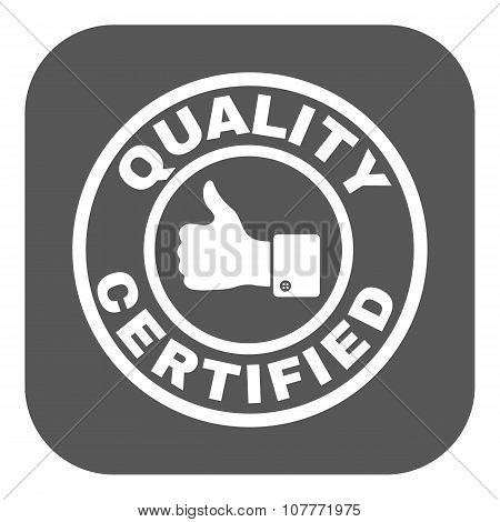 The certified quality and thumbs up icon.  Approval, approbation, certification, accepted symbol. Flat Vector illustration. Button poster