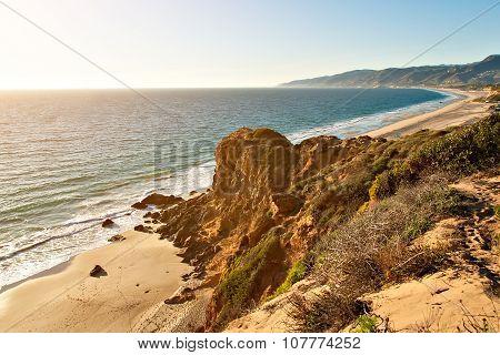 Rock formation by ocean on Point Dume Beach Malibu