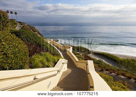 Stairs down to the ocean in Dana Point
