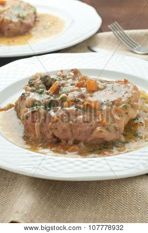 marrowbone, Veal Cut Used In Italian Cooking With Yellow Risotto Alla Milanese