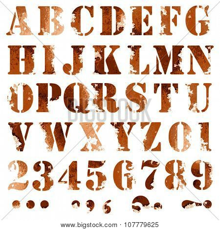 Grunge full alphabet and numbers in brown coffee colors isolated on white. Stamp stencil letters. Vector font.