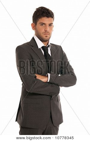 Young Businessman Looking Serious Arms Crossed Isolated On White Background