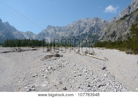 Talus In Wimbachtal Valley In Alps In Germany