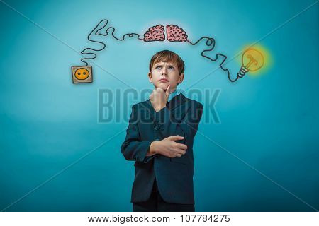 Teenage boy thinking thoughtful hand to face the charge of initiating the charging cord and plug wires sketch infographics poster