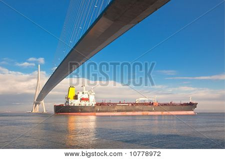 Normandy bridge view (Pont de Normandie France) and cargo ship poster