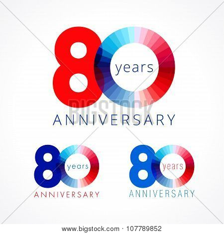 80 anniversary red and blue logo.