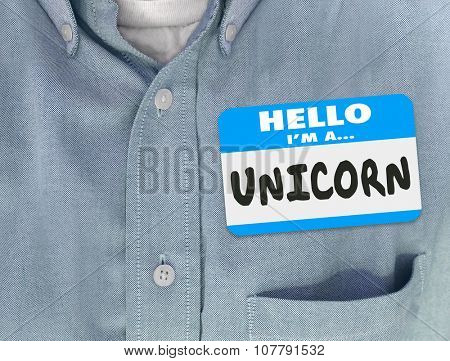 Hello I Am a Unicorn words on a name tag on blue shirt to symbolize a perfect leader or employee candidate