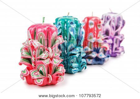 Carved Colored Candles Isolated On White