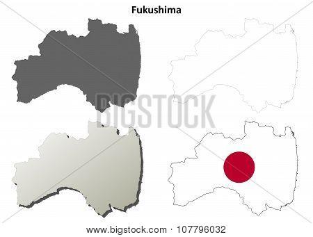 Fukushima blank outline map set