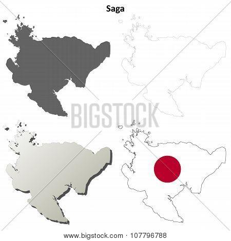 Saga blank outline map set