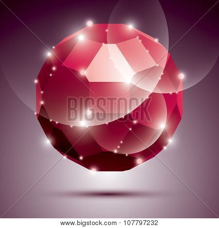 Party Dimensional Red Sparkling Disco Ball. Vector Abstract Gala Illustration - Eps10 Treasure. Cele