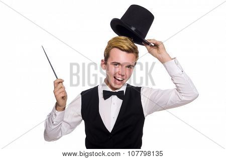 Magician with magic stick isolated on white