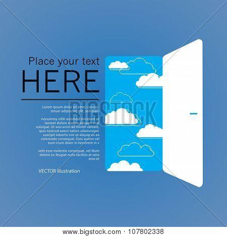 Opend door, success illustration. Vector