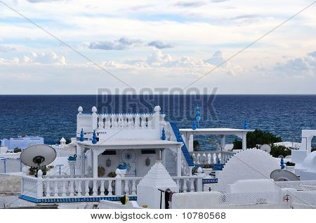 Blue And White House In Hammamet, Tunisia