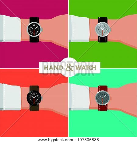 Vector flat business illustration of hand with different shapes watches