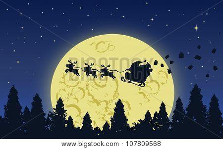 Santa and Reindeer on Big moon sky