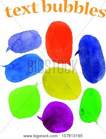 Vector set of watercolor colorful text balloons