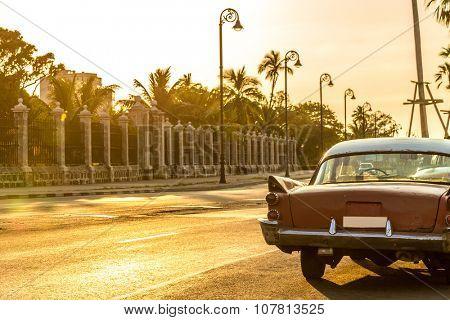 HAVANA, CUBA - CIRCA MAY 2015: Old car in Malecon Avenue in Havana, Cuba