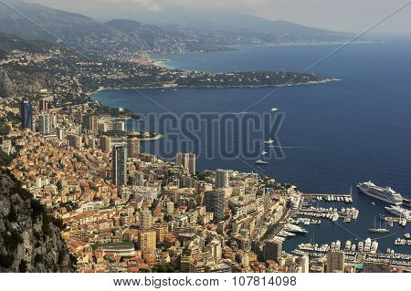 Monaco On French Riviera On A Sunny Day