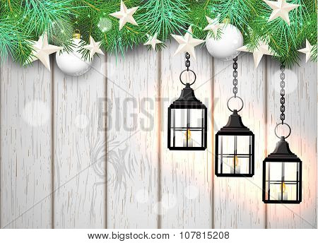 christmas theme with black lanterns on white wooden background, illustration
