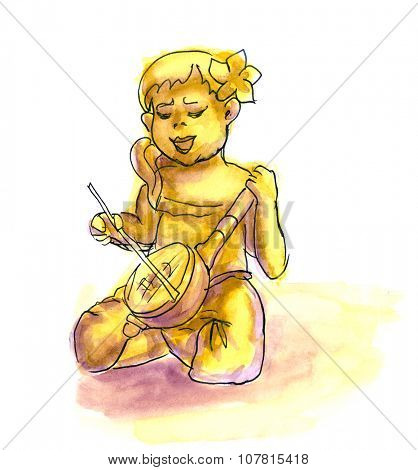 Funny cartoon girl playing the banjo. Hand drawn liner sketch with watercolor